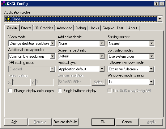 DXGL Config (Display tab)